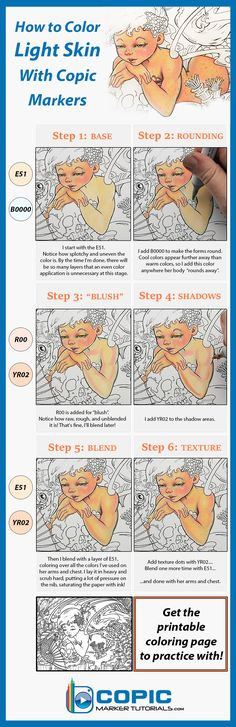 How to color light skin tones with Copic markers! Get the printable coloring page to practice with: https://copicmarkertutorials.com/under-the-sea-coloring-page-the-secret/