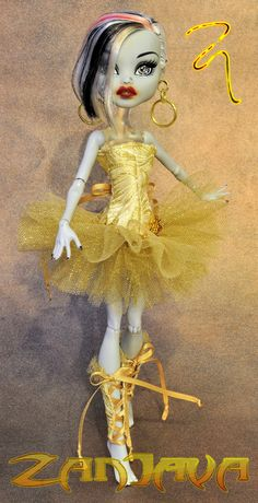 ZanJava gold ballerina tutu fashion for Monster High. $35.00, via Etsy.