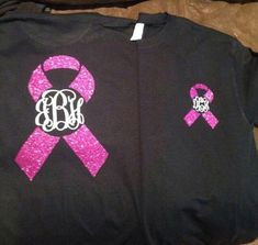 Monogrammed breast cancer awareness shirt by StudioChaseDesigns