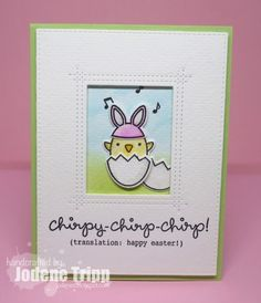 Lawn Fawn Chirpy Chirp Chirp watercoloured card