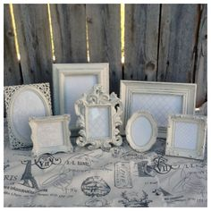 7 Small Picture Frames - Baby - Wedding - Heirloom White -shabby Chic - Glass…