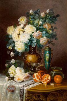 MAX CARLIER (Belgian, 1872-1939). White Roses