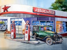 """""""Flying """"A"""""""" by Bill Drysdale, Southern California // Orginal watercolor painting of a Flying """"A"""" gas station.  While growing up Upland, California, my father owned a Flying """"A"""" gas station.  It was great to have a job waiting for me and my brothers as soon as we could reach a windshield.  Remember the days when you pulled into a gas... // Imagekind.com -- Buy stunning, museum-quality fine art prints, framed prints, and canvas prints directly from independent working artists and…"""