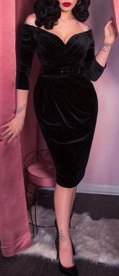 Velvet off shoulder pencil dress