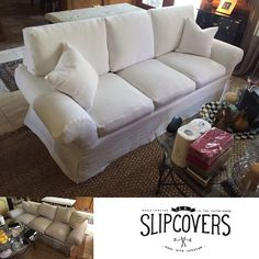 So this one, I'm particularly proud of. This #SofaSlipcover completely transformed the look of this piece. What a #makeover. We made custom back cushions with foam and feathers and added a few more inches of height to them. It has a waterfall skirt and knife edge. #Slipcovers #slipcover #whiteslipcover #houstondesign #houstoninteriors #houstondecor #interiors #interiordesign #interiordecor #homedecor #makers #handmade #handcrafted #beforeandafter #artisan #couture #linen #whitelinen