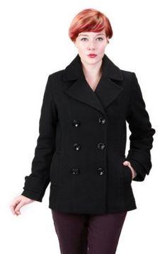 Ramonti Womens Double Breasted Black Wool Pea Coat, Black, X-Large Ramonti. $99.99
