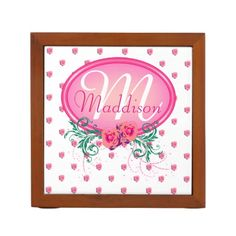 http://www.zazzle.com/pink_frame_monogram_rose_pencil_pen_holder-256178262908698082?view=113813764577451918&rf=238523064604734277 Pink Frame Monogram Rose Pencil/Pen Holder - This desk organizer has lots of pink roses all over and a pink monogram frame with roses and green foliage in which to place a name of your choice! This would make an excellent gift for a business partner or friend, or a less than organized husband or wife for their birthday or as a Christmas gift.