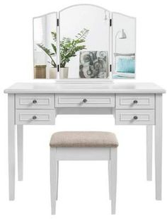 Alcott Hill Bartee Wooden Vanity Set with 5 Drawers and Tri Fold Mirror, White and Beige Wood Makeup Vanity, Wooden Vanity, White Vanity Set, Vanity Set With Mirror, Upholstered Stool, Contemporary Vanity, Cosmetic Storage, Louis Xvi, Mesas