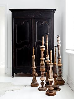 "Gallery: A magnificent monochrome home on Sydney's Lower North Shore:Timber **candlesticks** from [Les Interieurs](http://www.lesinterieurs.com.au/?utm_campaign=supplier/|target=""_blank""). **Armoire** was repainted in black by interior designer Pamela."