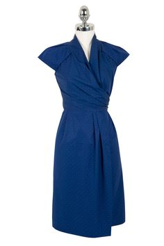 Herringbone | Womens | Womens Dress | Navy Blue | 100% Cotton | Classic Wrap Dress style perfect for work or weekend