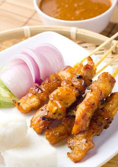 Thai Recipe: Spicy Peanut Chicken Satay - Save recipe on iPhone by ONE snap via Sight (Check How: https://itunes.apple.com/us/app/sight-save-articles-news-recipes/id886107929?mt=8