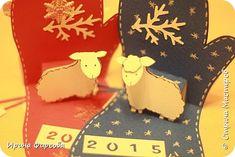 Masterat Clasa felicitare de Anul Nou aplicatiile Kirigami pop-up Crăciun mănușă de box card cu o fotografie secretă 14