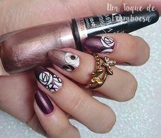 Almond nails with roses and metallic nail polish ✨ Pinterest: @framboesablog