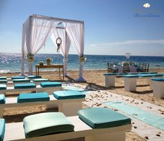 Some blue inspiration for your wedding destination | Wedding at Dreams Riviera Cancun Resort & Spa | Beach wedding - Contact Cherie@VacationAgent.net for assistance in finding the perfect destination for your wedding!