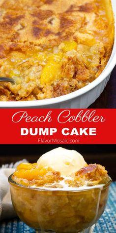 Peach Cobbler Recipe With Cake Mix, Peach Cake Recipes, Peach Cobbler Dump Cake, Dump Cake Recipes, Sweet Recipes, Peach Dump Cakes, Southern Peach Cobbler, Blueberry Cobbler, Grill Recipes