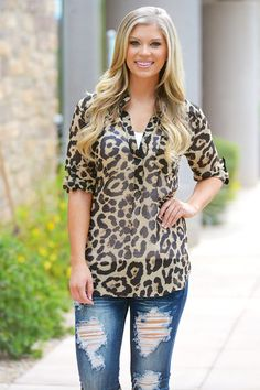 High Expectations Top - Brown Leopard