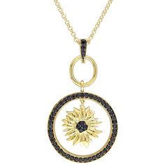V19.69 Italia 18k Gold Over Silver Black Sapphire Sunflower Pendant ($400) ❤ liked on Polyvore featuring jewelry, pendants, black, gold jewellery, gold pendant, gold chain pendant, gold circle pendant and round silver pendant