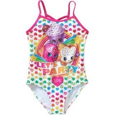 Shopkins Girls' SPK One Piece Swimsuit, Size: 4/5, Multicolor