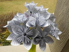 Secret Garden Paper Flower Bouquet, Origami Paper Flowers. Upcycled. Gift For Mom, Anniversary, Birthday. by TreeTownPaper on Etsy