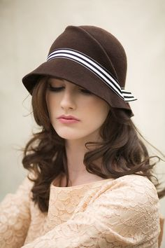 Lovely hair in Winter Cloche Hat with Stripe Band, Modern Warm Wool Felt Hat - Amelee