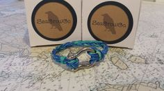 Nautical rope bracelet recycled blueteal by SeacrowCompany, $15.00
