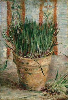 """formalineme7: """" Van Gogh, Flowerpot with Chives, March-April 1887. Oil on canvas, 31.5 x 22.0 cm. Van Gogh Museum, Amsterdam. """""""