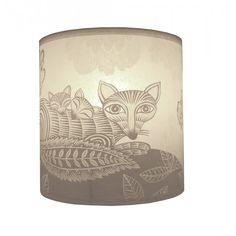 Lush Designs Fox & Cubs Lampshade Cream Light Shade