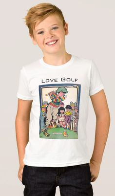 Kids' Fine Jersey Golf T-Shirt.  One for the junior golfer. Kids' American Apparel Fine Jersey T-Shirt. Available in 18 color choices. Vintage 1929 illustration https://www.zazzle.com/kids_fine_jersey_golf_t_shirt-235488649776388317 #golf #kids #Tshirt #gift