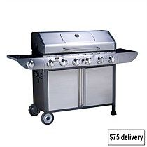 Goldair Chef 6 Burner BBQ with Side Burner - Briscoes Stainless Steel Hood, Stainless Steel Tubing, 6 Burner Bbq, Cast Iron Grill, Grill Plate, Bbq Cover, Round Roast, Storage Hooks, Galvanized Steel