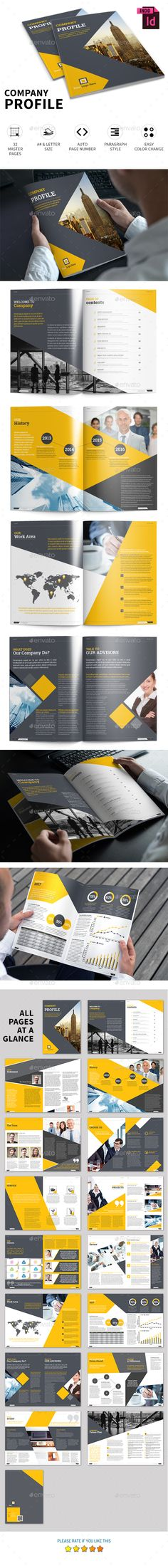 Company Profile Brochure Template InDesign INDD - 32 Pages, A4 & US Letter Size