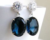 Sapphire Jewelry Wedding Jewelry Bridal Earrings Montana Navy Blue Oval Stone Silver Stud Post Estate Style Bridesmaids Jewelry