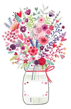 mason-jar-floral Greeting Cards - Birthday Cards - Felicity French Illustration Geburtstagskarte E-Karte Whatsapp Facebook Gruß Geburtstag Kuchen Happy Birthday