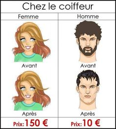 La différence entre homme et femme chez le coiffeur