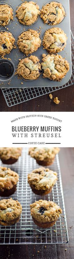 Blueberry yogurt coffee cake muffins are the best blueberry muffins (made with Greek yogurt!) plus coffee cake-style streusel topping. Hellooo, happiness.