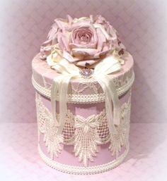 Lavanda decoración Chic Shabby, Shabby Chic caja, encaje cubre caja rosa lavanda, decoración victoriana, caja recuerdo, caja de regalo de boda