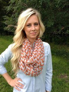 Orange/Grey Chevron Scarf $15 #scarves #fall #accessories #orange #chevron #farmerswifeboutique