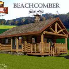 "The Beachcomber is a cozy cabin design that offers a ""studio style"" open floor plan with a beautiful post and beam ceiling and covered deck. Main Floor Plan – 484 Sq. Ft./45 SQ. M. – Kitchen, Living Area, Pantry, Bathroom, Sleeping Area.  This is one cozy cabin😍  #postandbeam #logcabins #handcraftedcabins #cabindesign #naturallypassive #vacationhomes #tinyhomes"