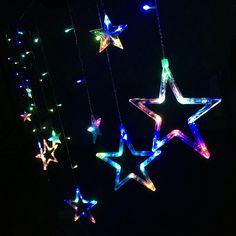 Salcar bunte LED Lichterkette 2*1 Meter 12 bunte Sterne Lichtervorhang für Weihnachten Deko Party Festen, blinkend, Innen/Außen (RGB).  Kann auf Weihnachtsbäume, Wände, Fenster, Türen, Fußböden, Decken, Gräsern usw. Hängen