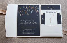 Falling Leaves Navy Wedding Invitation ahhhhh!! <3 @Gina de Villiers P Designs