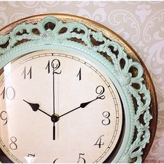 Shabby Chic WALL CLOCK in Mint or Any Color - Ornate - Home Decor by VintageEvents on Etsy https://www.etsy.com/listing/200040549/shabby-chic-wall-clock-in-mint-or-any