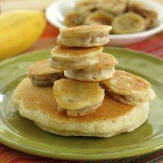 This Banana Pancake Recipe is a fun way to enjoy this tasty fruit. Follow tips to lightly batter bananas and fry them or make regular whole wheat pancakes!