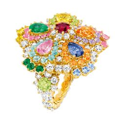 Cher Dior Majestueuse ring - diamonds, sapphires, ruby, emeralds, amethysts, tourmaline in yellow gold