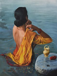 """Lady"" - Kamal Rao {contemporary figurative realism art female back woman wading in water painting #loveart}"