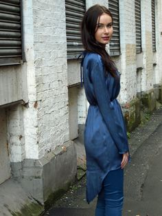 Blue Silk LongSleeved Tunic Dress with Tails by yapyapcouture, £50.00 - sininen silkkitunika