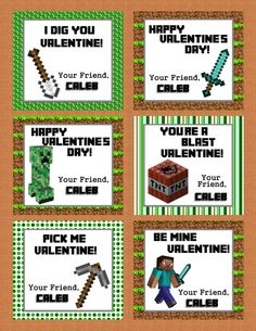 Personalized Minecraft Valentine Class Cards for School digital download custom party boy