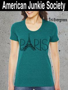 PARIS Tower T Shirt Fashion Blogger}Womens Instagram Top american Apparel  Graphic tee-Girlfriend Gift'Paris Shirt__//()Instagram Like