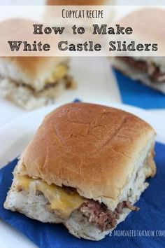 You can save time and money by making your own copycat White Castle Sliders at home. So easy to make and so delicious! Copykat Recipes, Beef Recipes, Cooking Recipes, Hamburger Recipes, Cooking Time, Chicken Recipes, White Castle Sliders, White Castle Hamburgers, Great Recipes