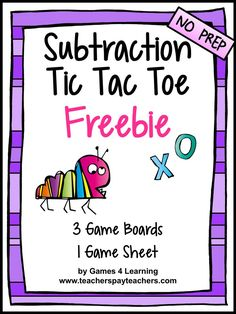 Math games 104005072626653630 - FREE GAMES – Subtraction Facts Tic Tac Toe Math Games Freebie from Games 4 Learning – 3 game boards and 1 print and play game sheet Source by svesser Teaching Subtraction, Subtraction Activities, Teaching Math, Numeracy, Teaching Ideas, Subtraction Strategies, Math Activities, Math Board Games, Math Boards