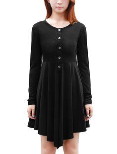 Allegra K Women Fall Winter Long Sleeve High Low Short Tee Dress at Amazon Women's Clothing store: Winter Dresses