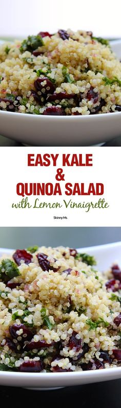 Skinny Ms. Easy Kale and Quinoa Salad with Lemon Vinaigrette packs an invigorating punch with not one, but TWO highly respected superfoods, kale and quinoa.